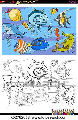 Clipart - pez, caracteres, grupo, color, libro k52762653 - Buscar ...