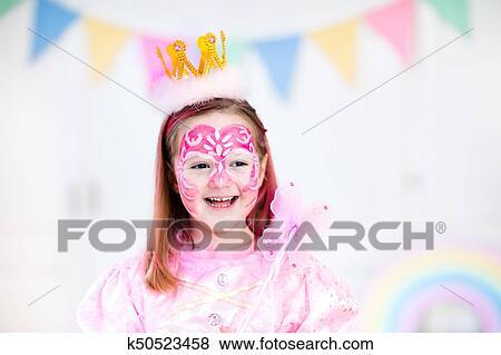 Fotos - pintura de la cara, para, niña, fiesta de cumpleaños ...