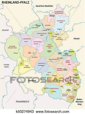 Rhineland-Palatinate administrative and political map in german ...