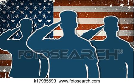 US Army soldiers saluting on flag Clipart