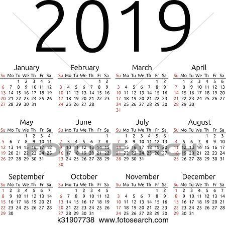 simple 2019 year calendar week starts on sunday eps 8 vector