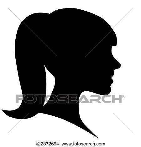 Visage femme silhouette dans profil clipart k22872694 fotosearch - Profil dessin ...