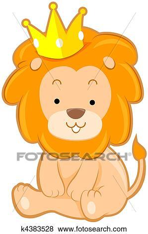 かわいい ライオン で 王冠 イラスト K4383528 Fotosearch