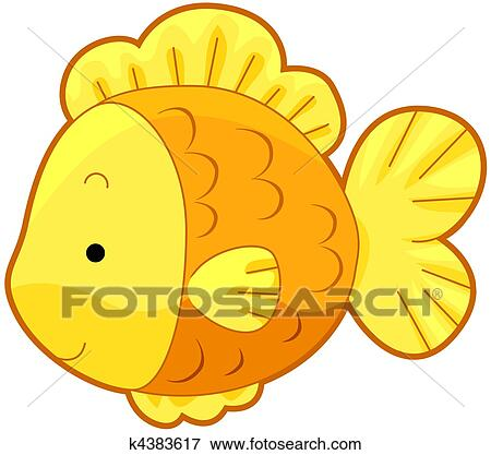 かわいい 金の魚 イラスト K4383617 Fotosearch