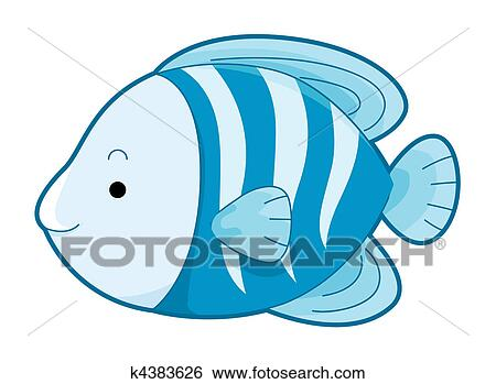 かわいい 青い魚 イラスト K4383626 Fotosearch