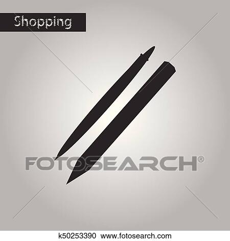 black and white style icon pencil and pen clipart k50253390 fotosearch fotosearch