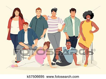 Group Of Cartoon Fat Young People Clipart K57506695 Fotosearch