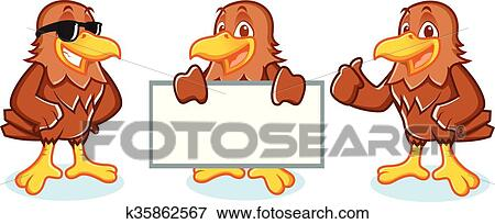 hawk mascot vector happy clip art  k35862567  fotosearch