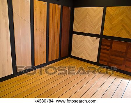 stock photo of display of hardwood parquet floors k4380784. Black Bedroom Furniture Sets. Home Design Ideas