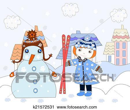 Clipart Kleines Mädchen Strecken Ski Fahrend Schneemann Winter