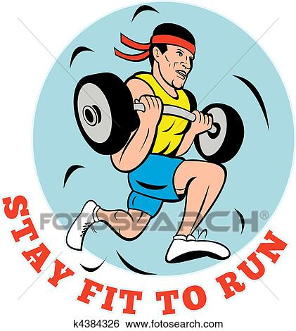 Koşan Adam Jogging Kaldırma Ağırlaşar Hazır Ilüstrasyonlar K4384326