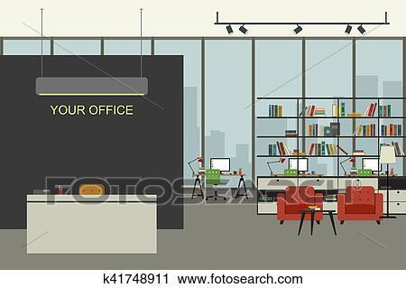 Clipart moderne intérieur bureau dans plat style. k41748911