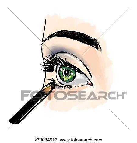 Olhos Com Olho Sombras Cima Vista Freehand Moda
