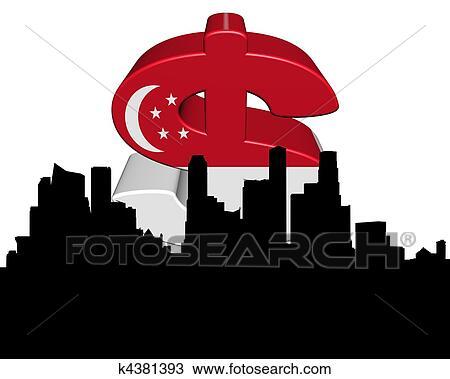 Drawing Of Singapore Skyline With Flag Dollar Symbol K4381393