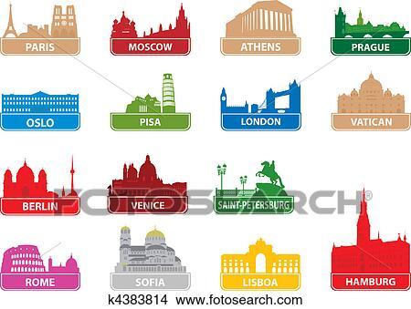 Clipart Of Symbols European City K4383814 Search Clip Art