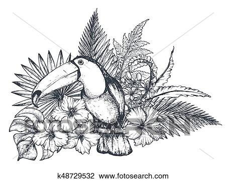 Vector Composition Of Tropical Flowers And Exotic Bird