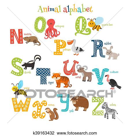 Zoo Cute Cartoon Animals Alphabet From N To Z In Cartoon Style Clipart