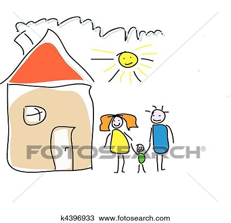 Clipart Childs Zeichnung Von A Familie Haus K4396933 Suche