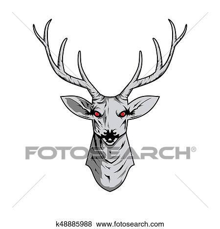 Fotos - contorno, ilustración, de, un, venado, cráneo, con ...
