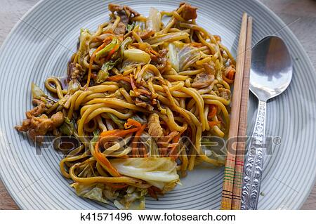 Delicious Japanese Cuisine Yakisoba Or Hot Dry Noodles Japanese Style Stock Photograph