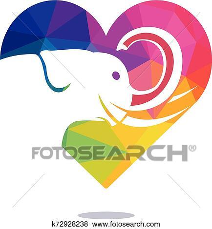 Elephant love vector logo design. Clip Art | k72928238 ...