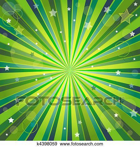 Estratto Verde E Sfondo Giallo Con Raggi Clip Art K4398059