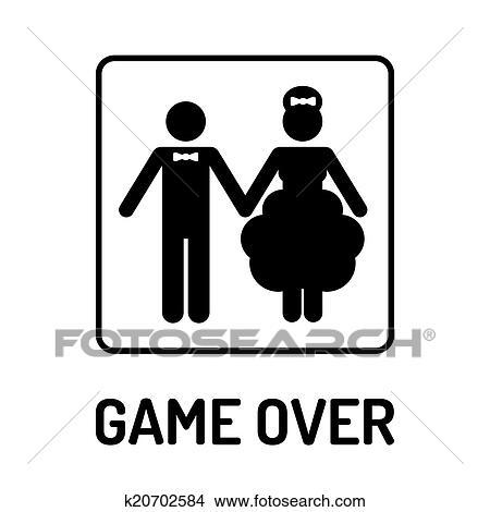 Karikatur Lustig Wedding Symbol Spiel Hinüber