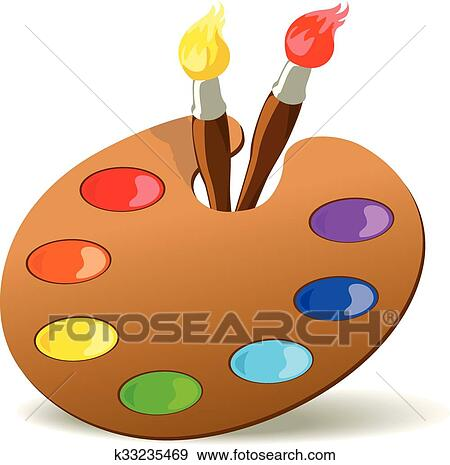 Clip Art Of Palette And Paintbrushes K33235469