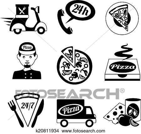 Clipart Pizza Heiligenbilder Satz Schwarz Weiß K20811934