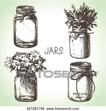 Rustic Mason And Canning Jars Hand Drawn Set Sketch