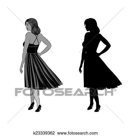 Silhouette Of A Girl With Ball Gown Clipart K23339362 Fotosearch