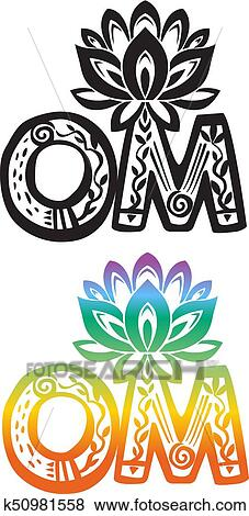 Clip art of word om with lotus flower silhouette k50981558 search clip art word om with lotus flower silhouette fotosearch search clipart illustration mightylinksfo