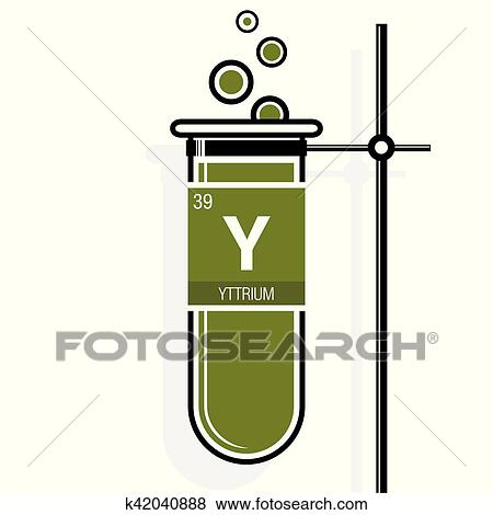 Clip art of yttrium symbol on label in a green test tube with holder yttrium symbol on label in a green test tube with holder element number 39 of the periodic table of the elements chemistry urtaz Image collections
