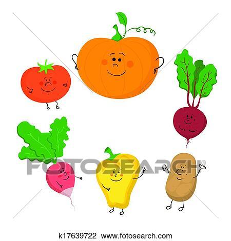 かわいい 面白い 野菜 ベクトル セット クリップアート切り張り