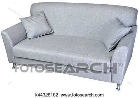 2 seater modern sofa in light grey fabric, on whaite. Stock Image
