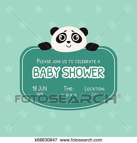 Baby Shower Invitation Template Green Card With Cute Panda Bear And