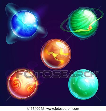 Clipart Ensemble De Isole Univers Planetes Ou Cosmos