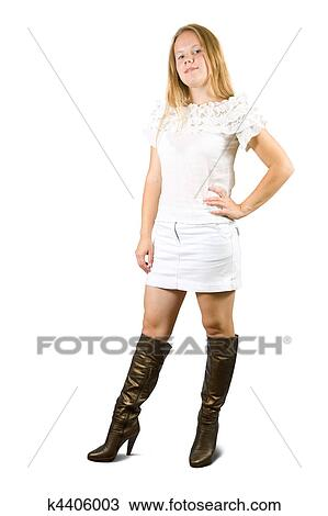 dress and high boots