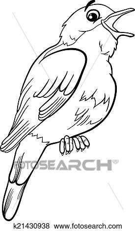 nightingale coloring page - clip art of nightingale bird coloring page k21430938