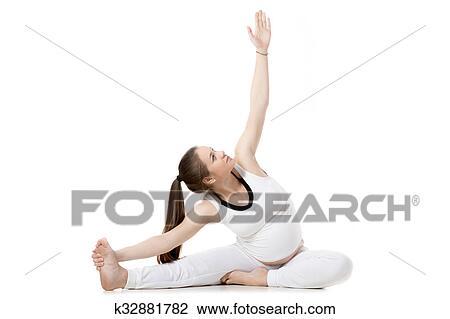prenatal yoga headtoknee forward bend pose stock image