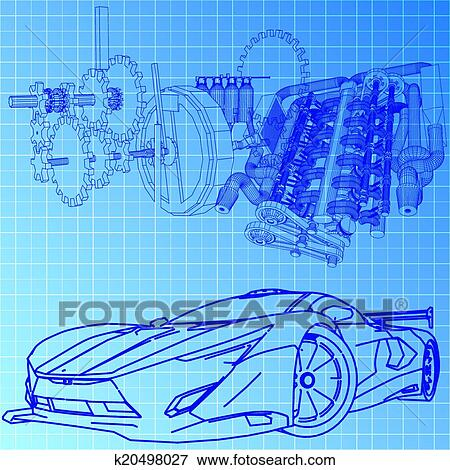 Clip art of sports car sketch blueprint k20498027 search clipart clip art sports car sketch blueprint fotosearch search clipart illustration posters malvernweather Gallery