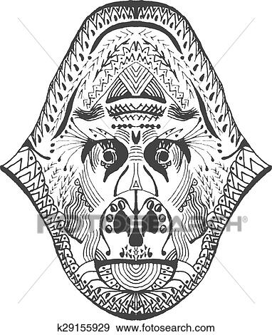 3aa5db411 Zentangle stylized monkey head Clip Art | k29155929 | Fotosearch