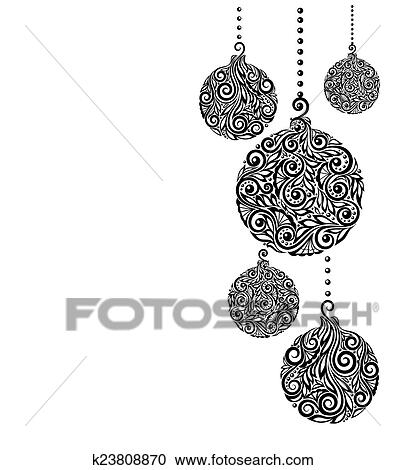 Christmas Balls Clipart Black And White.Beautiful Monochrome Black And White Christmas Background With Christmas Balls Hanging Clipart