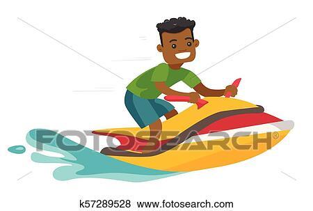 Black Man Riding A Jet Ski Scooter Clip Art K57289528 Fotosearch