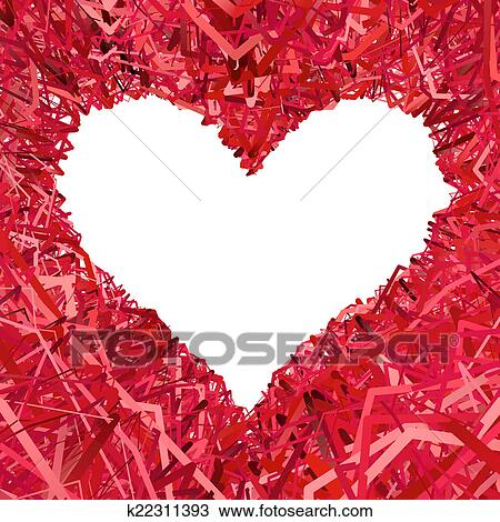 Drawing of Blank heart shaped frame composed of red ribbons ...