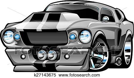 Clipart Of Classic American Muscle Car Cartoon K27143675 Search