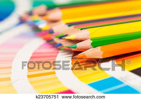 Stock Photography Of Colored Pencils And Color Chart Of All Colors