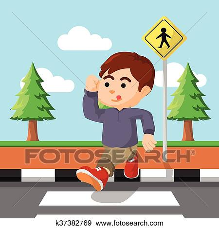 clip art of crossing the street k37382769 search clipart