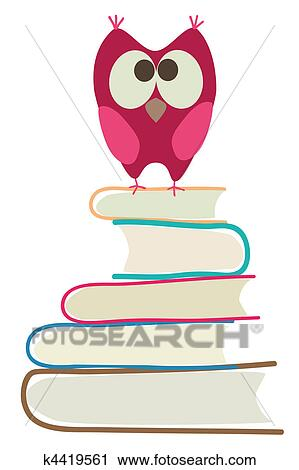 Clipart Of Cute Owl And Books K4419561
