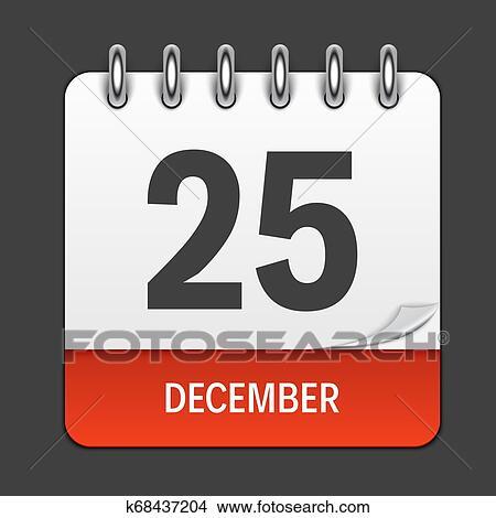 Calendario Diario.Diciembre 25 Calendario Diario Icon Ilustracion Emblem Elemento De Diseno Para Decoracion Oficina Documentos Y Applications
